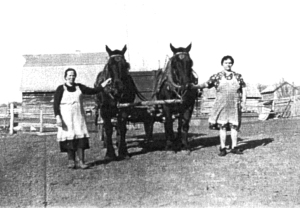 1947 Michelina on left and Mrs. Osowetski (her farm)